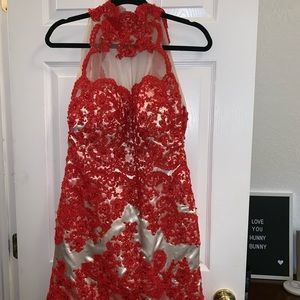 Red formal dress perfect for homecoming or prom